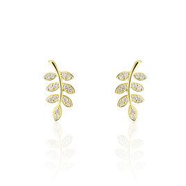 Boucles D'oreilles Puce Or Jaune Feuille - Boucles d'Oreilles Plume Femme   Histoire d'Or