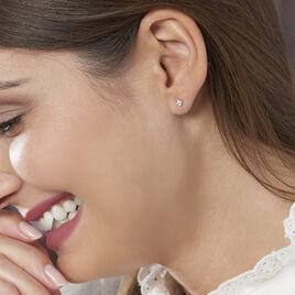 Boucles D'oreilles Puces Doreen Carre Or Rose Oxyde De Zirconium - Clous d'oreilles Femme | Histoire d'Or