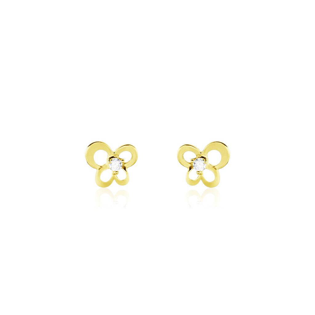 Boucles D'oreilles Puces Eleanor Fleur Or Jaune Oxyde De Zirconium - Boucles d'Oreilles Coeur Femme | Histoire d'Or