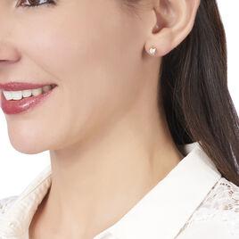 Boucles D'oreilles Puces Oliana Plaque Or Jaune Oxyde De Zirconium - Boucles d'Oreilles Coeur Femme | Histoire d'Or