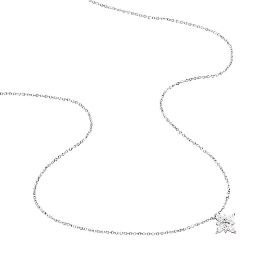 Collier Winter Flower Argent Blanc Oxyde De Zirconium - Colliers Etoile Femme   Histoire d'Or