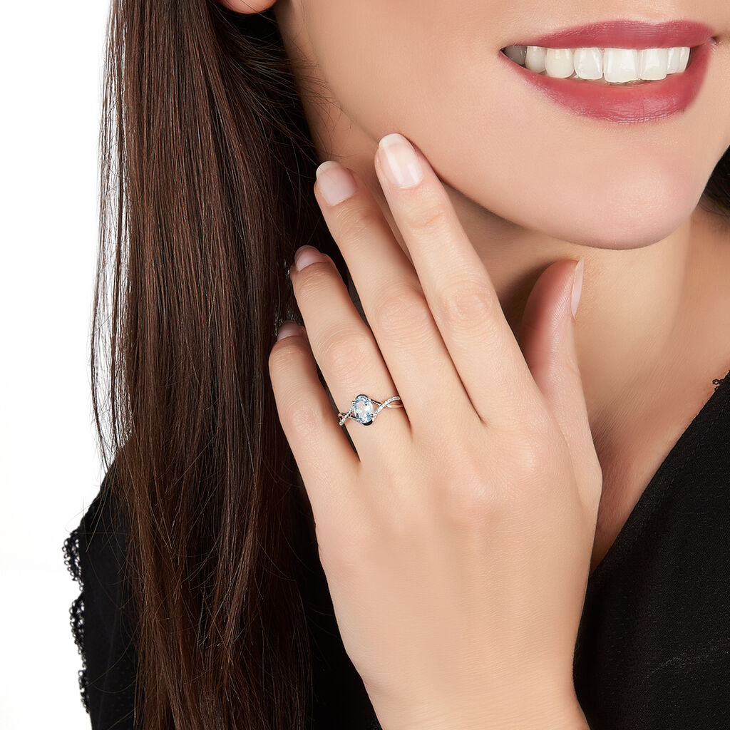 Bague Leony Or Blanc Topaze Et Diamant - Bagues avec pierre Femme   Histoire d'Or