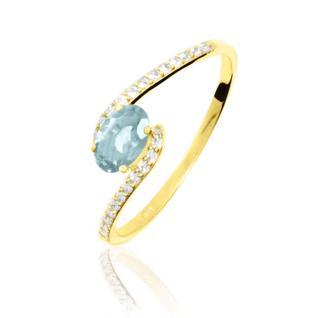 Bague Loriane Or Jaune Aigue Marine Et Diamant