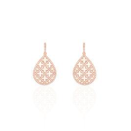 Boucles D'oreilles Pendantes Aliette Or Rose Oxyde De Zirconium - Boucles d'oreilles pendantes Femme   Histoire d'Or