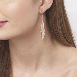 Boucles D'oreilles Pendantes Soline Or Jaune - Boucles d'Oreilles Plume Femme   Histoire d'Or