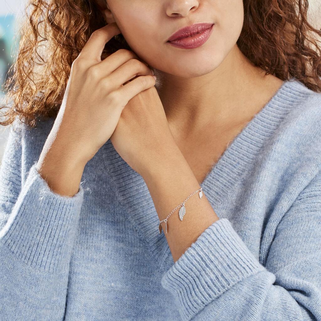 Bracelet Fabia Argent Blanc - Bracelets Plume Femme   Histoire d'Or