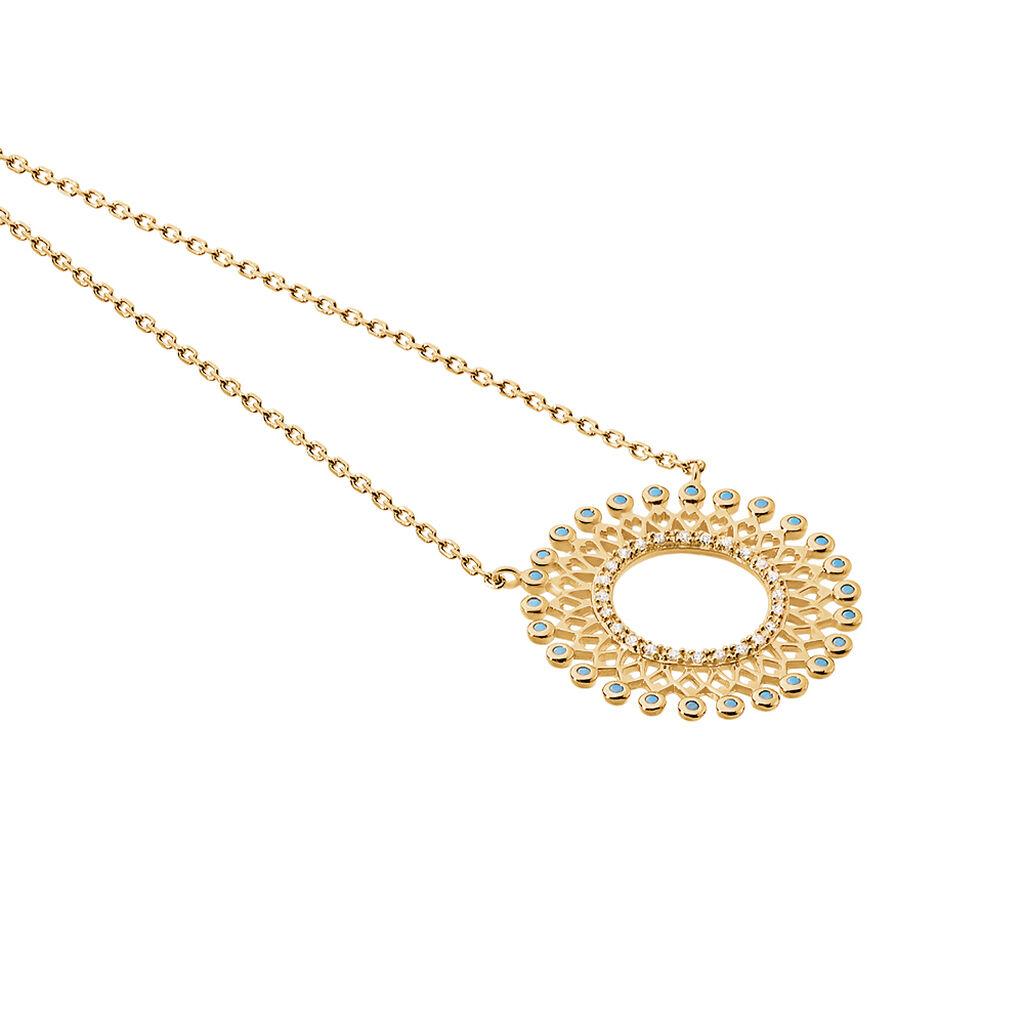 Collier Cilla Plaque Or Jaune Pierre De Synthese - Bijoux Femme   Histoire d'Or
