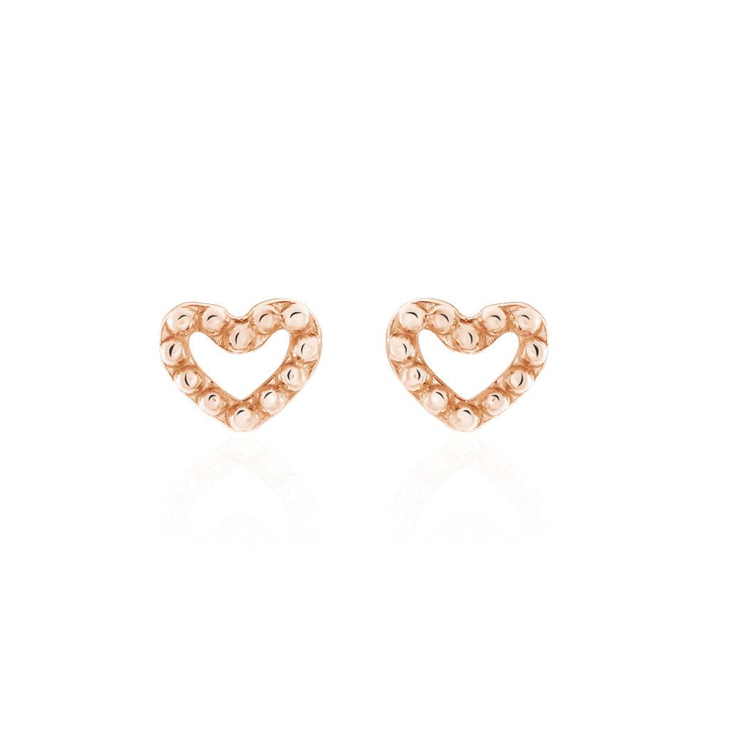 Boucles D'oreilles Puces Menel Argent Rose - Boucles d'Oreilles Coeur Femme | Histoire d'Or