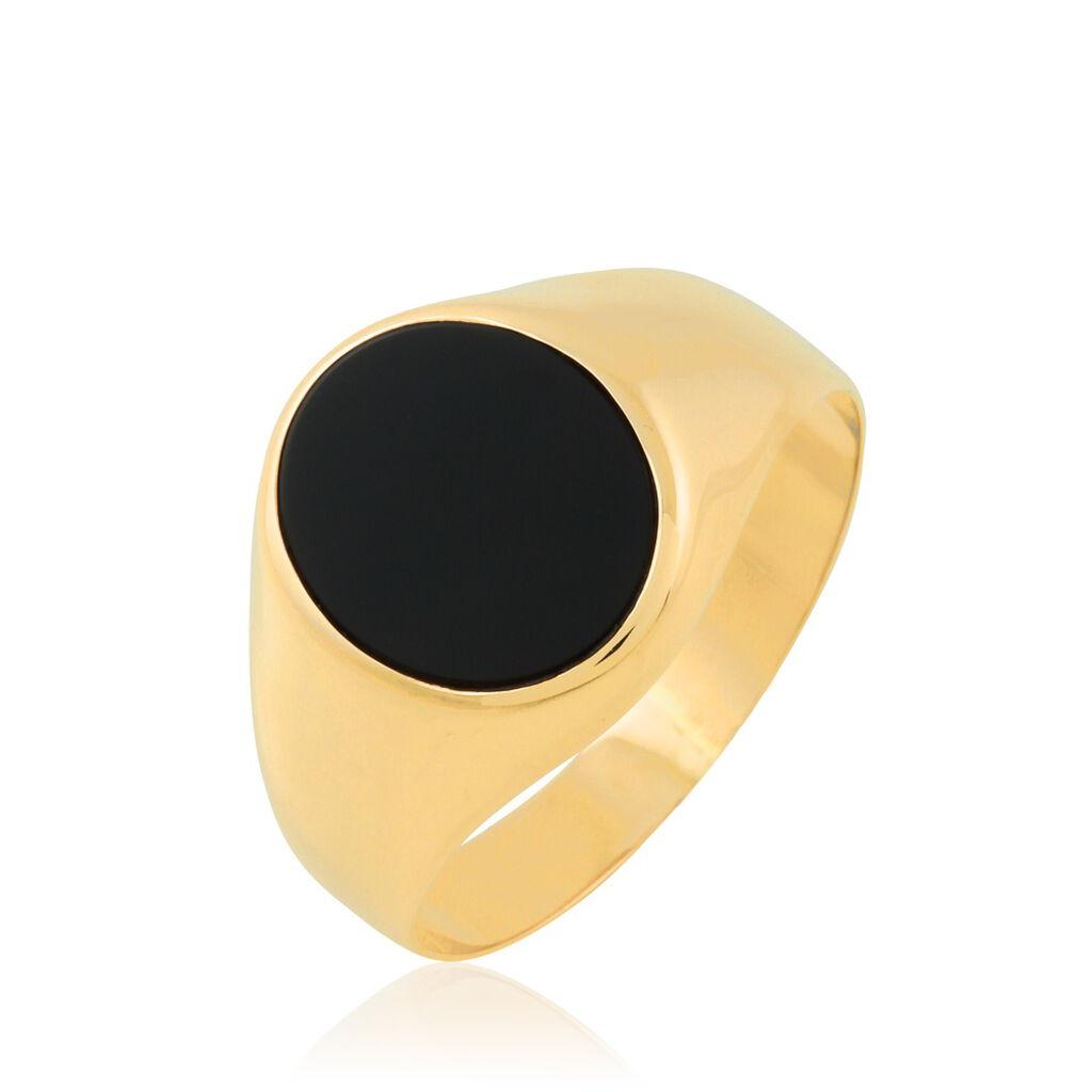 Chevalière Ovale Or Jaune Onyx - Chevalières Unisexe   Histoire d'Or