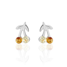 Boucles D'oreilles Puces Audrey-anneae Argent Blanc Ambre - Boucles d'oreilles fantaisie Femme | Histoire d'Or