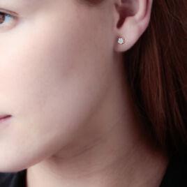 Boucles D'oreilles Puces Eleanor Fleur 0 Or Jaune Strass - Clous d'oreilles Femme   Histoire d'Or