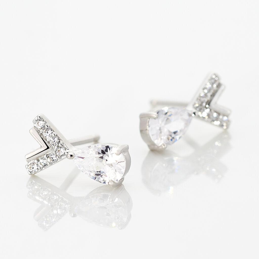 Boucles D'oreilles Pendantes Zettia Argent Blanc Oxyde De Zirconium - Boucles d'oreilles fantaisie Femme | Histoire d'Or