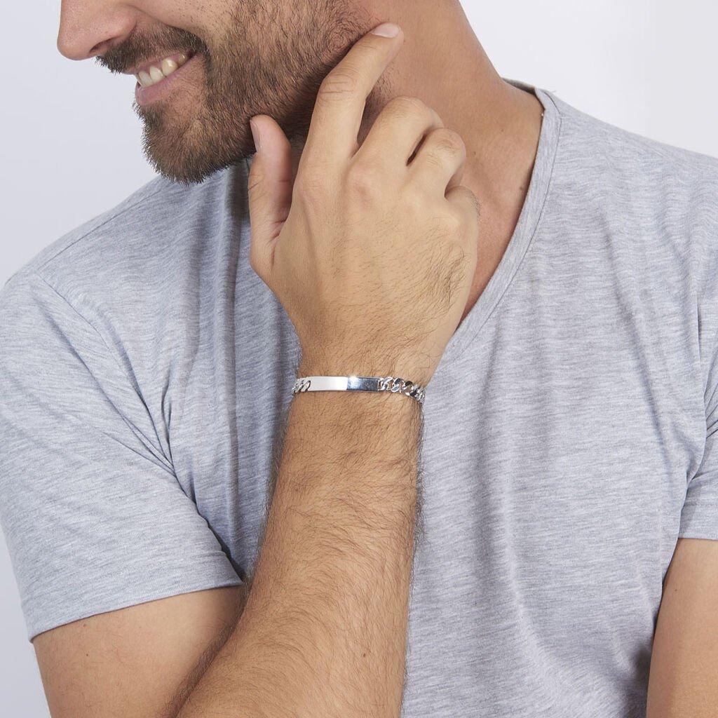 Bracelet Identité Casper Maille Gourmette Argent Blanc - Gourmettes Homme   Histoire d'Or