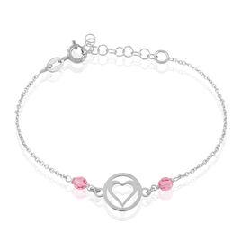 Bracelet Murielle Argent Blanc Pierre De Synthese - Bracelets Coeur Femme   Histoire d'Or
