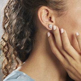 Boucles D'oreilles Puces Lisea Plaque Or Oxydes De Zirconium - Boucles d'oreilles fantaisie Femme | Histoire d'Or