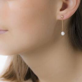 Boucles D'oreilles Pendantes Adriette Or Jaune Perle D'imitation - Boucles d'oreilles pendantes Femme | Histoire d'Or