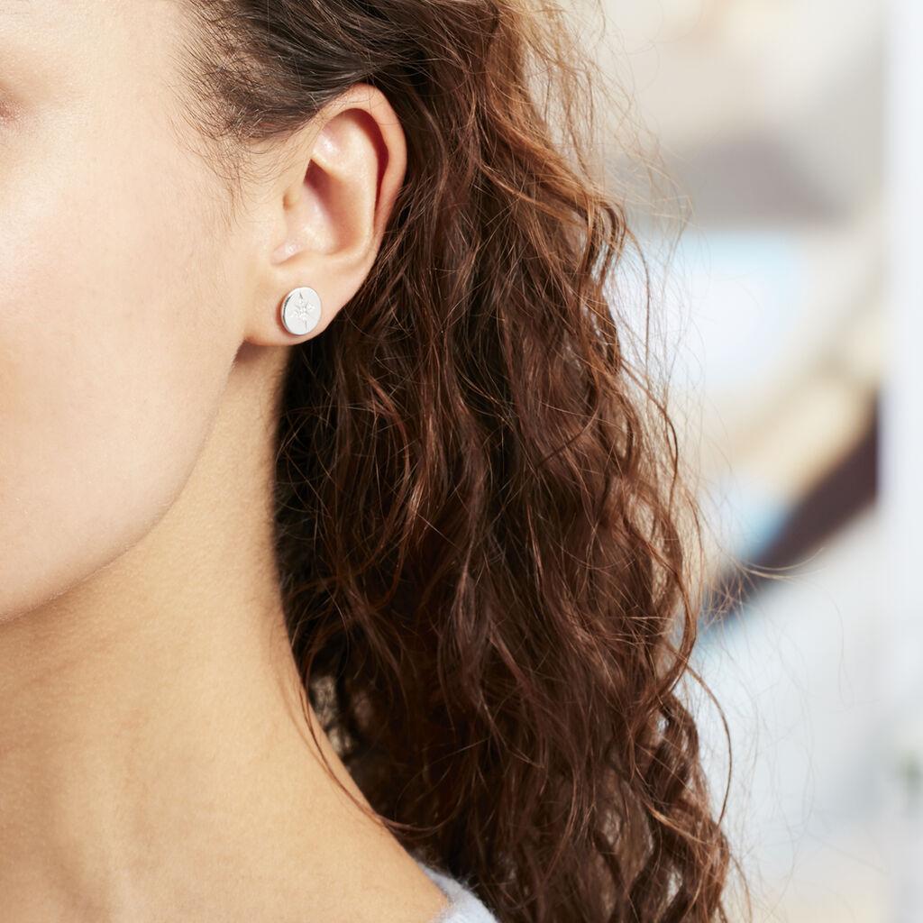 Boucles D'oreilles Argent Rhodie Cäcilie Pastille Oxyde - Boucles d'Oreilles Etoile Femme | Histoire d'Or