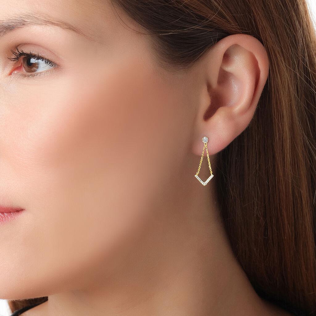 Boucles D'oreilles Puces Tessa Or Jaune Diamant - Boucles d'oreilles pendantes Femme | Histoire d'Or