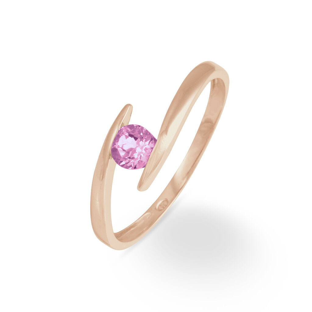 Bague Tiphaine Or Rose Saphir - Bagues avec pierre Femme   Histoire d'Or
