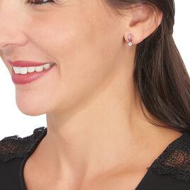 Boucles D'oreilles Puces Raika Or Rose Amethyste Rhodolite Et Topaze - Clous d'oreilles Femme | Histoire d'Or