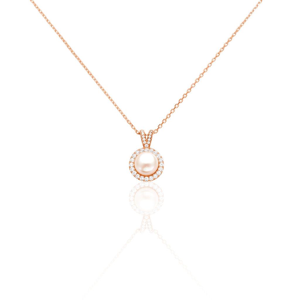Collier Olivia Argent Rose Perle De Culture Et Oxyde De Zirconium - Colliers fantaisie Femme | Histoire d'Or