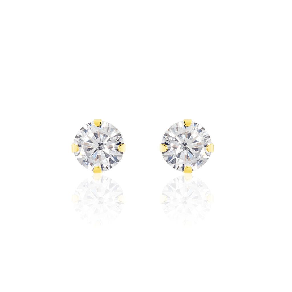 Boucles D'oreilles Puces Eddie Or Jaune Oxyde De Zirconium - Boucles d'Oreilles Coeur Femme | Histoire d'Or