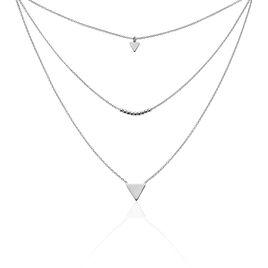 Collier Trilia Argent Blanc - Colliers doubles et triples chaînes Femme | Histoire d'Or