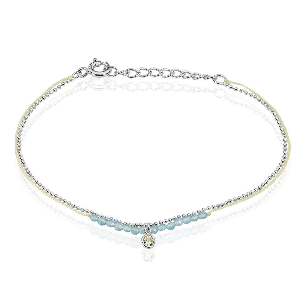 Bracelet Rafaela Argent Blanc Agate Et Oxyde De Zirconium - Bracelets cordon Femme   Histoire d'Or