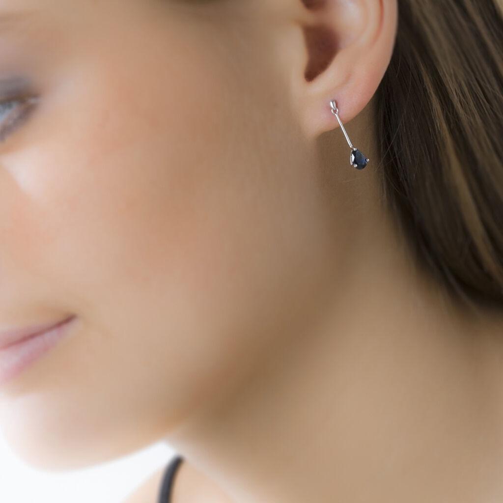 Boucles D'oreilles Pendantes Goutte Or Blanc Saphir - Boucles d'oreilles pendantes Femme   Histoire d'Or