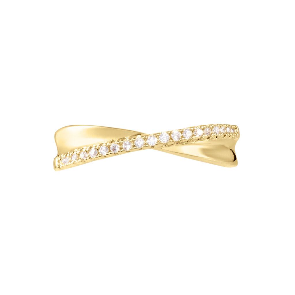 Bague Lia Plaque Or Jaune Oxyde De Zirconium - Bagues avec pierre Femme   Histoire d'Or