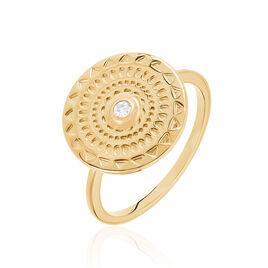 Bague Chedli Plaque Or Jaune Oxyde De Zirconium - Bagues avec pierre Femme | Histoire d'Or