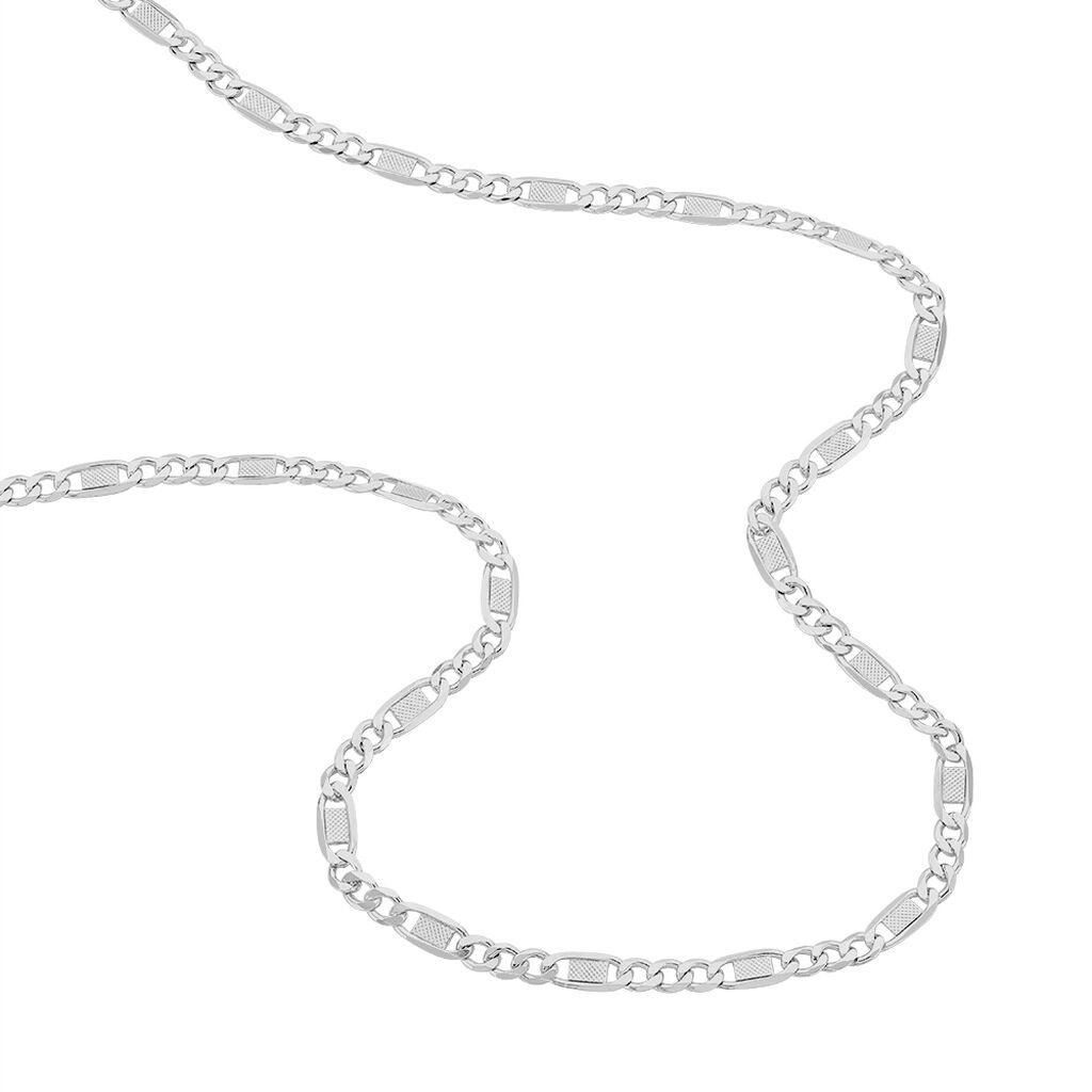 Collier Jeremi Maille Alternee 1/3 Et Plaquettes Argent Blanc - Sautoirs Femme   Histoire d'Or