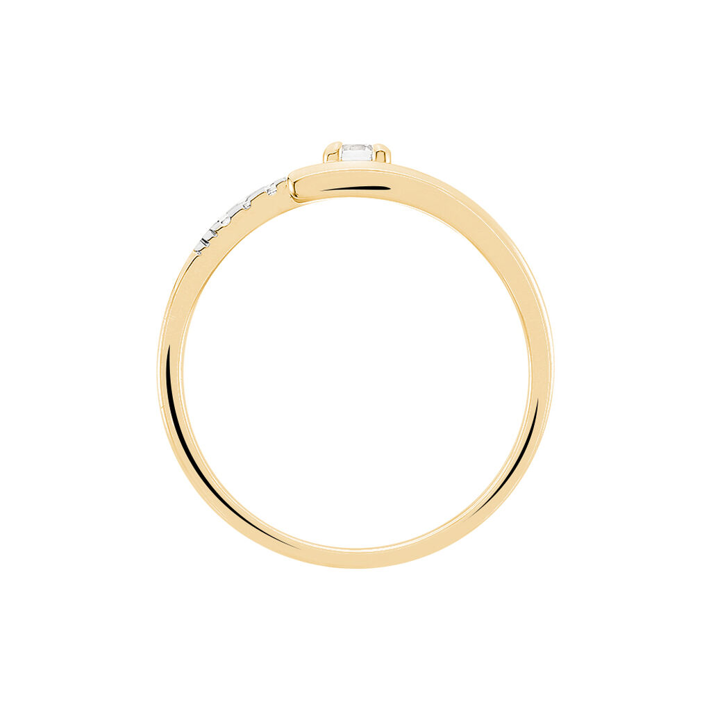 Bague Auberi Plaque Or Jaune Oxyde De Zirconium - Bagues avec pierre Femme   Histoire d'Or