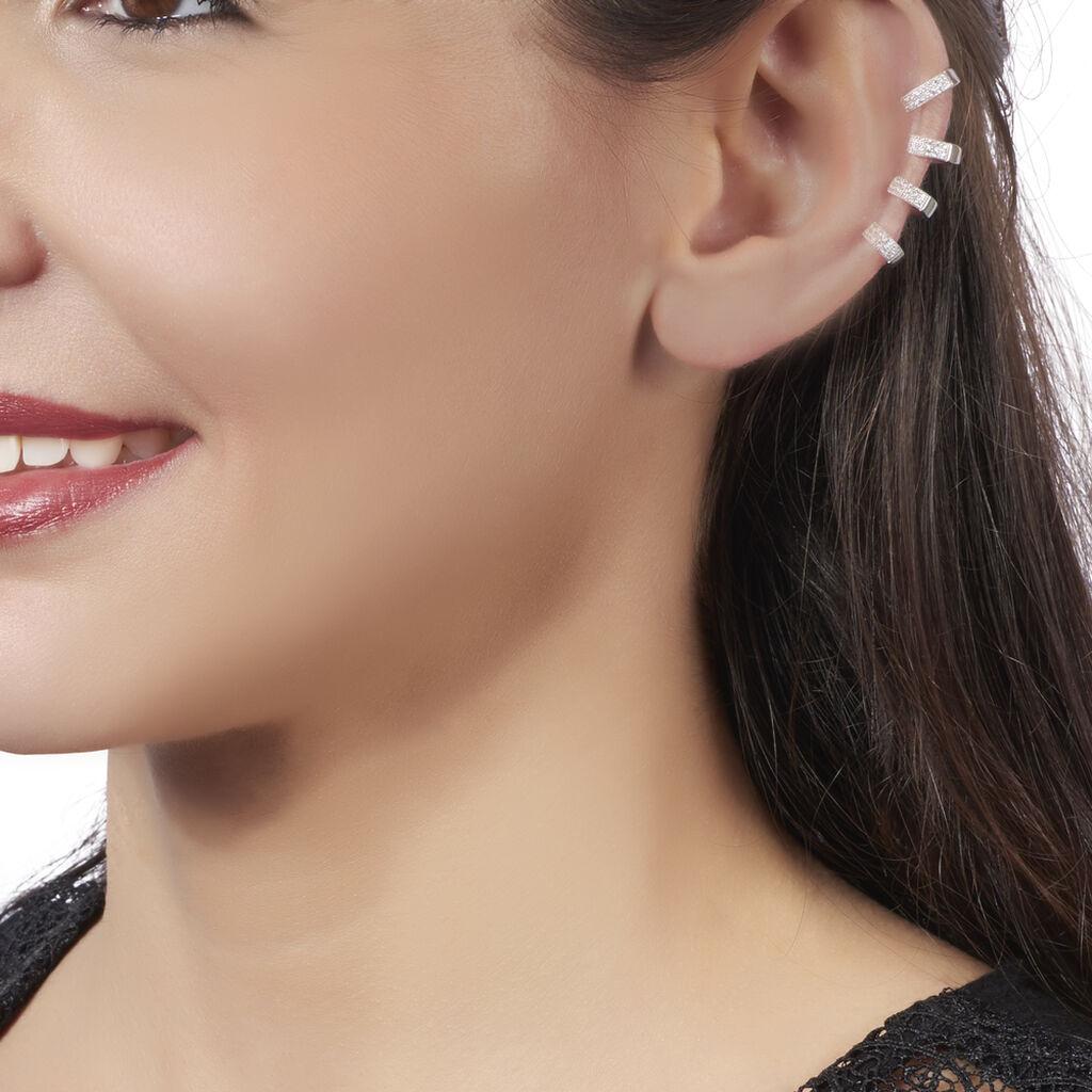 Bijoux D'oreilles Rekia Argent Blanc Oxyde De Zirconium - Boucles d'oreilles fantaisie Femme   Histoire d'Or