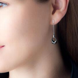 Boucles D'oreilles Pendantes Nahima Argent Céramique Et Oxyde - Boucles d'oreilles fantaisie Femme | Histoire d'Or