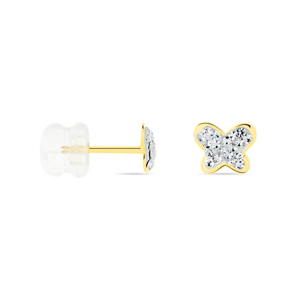 Boucles D'oreilles Puces Evaelle Papillon 0 Or Jaune Strass - Boucles d'Oreilles Papillon Femme | Histoire d'Or