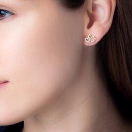 Boucles D'oreilles Puces Alexandra Plaque Or Jaune Oxyde De Zirconium - Boucles d'Oreilles Coeur Femme | Histoire d'Or