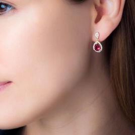 Boucles D'oreilles Pendantes Brigita Plaque Or Pierre Et Oxyde - Boucles d'oreilles fantaisie Femme | Histoire d'Or