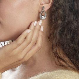 Boucles D'oreilles Pendantes Aelys Acier Blanc Strass - Boucles d'oreilles fantaisie Femme   Histoire d'Or