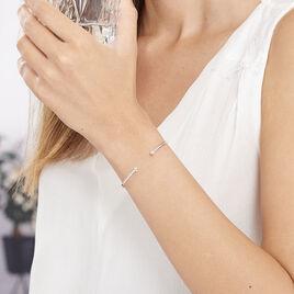 Bracelet Jonc Regine Argent Blanc Oxyde De Zirconium - Bracelets fantaisie Femme   Histoire d'Or