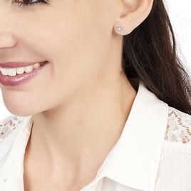 Boucles D'oreilles Puces Eleanor Fleur Or Rose Oxyde De Zirconium - Boucles d'Oreilles Etoile Femme | Histoire d'Or