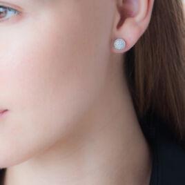 Boucles D'oreilles Puces Martina Argent Blanc - Boucles d'oreilles fantaisie Femme   Histoire d'Or