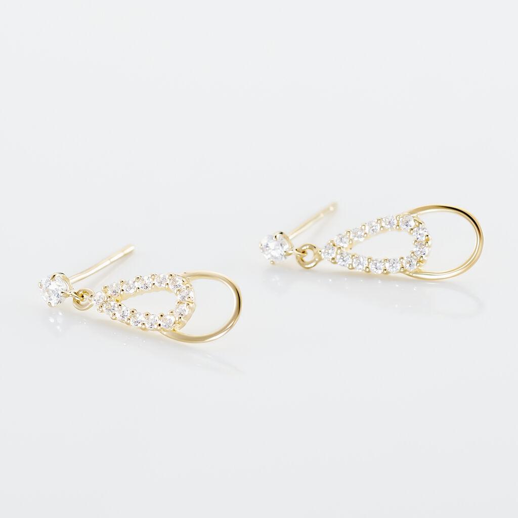 Boucles D'oreilles Pendantes Britain Or Jaune Oxyde De Zirconium - Boucles d'oreilles pendantes Femme   Histoire d'Or