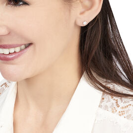 Boucles D'oreilles Puces Magnolia Or Blanc Diamant - Clous d'oreilles Femme   Histoire d'Or