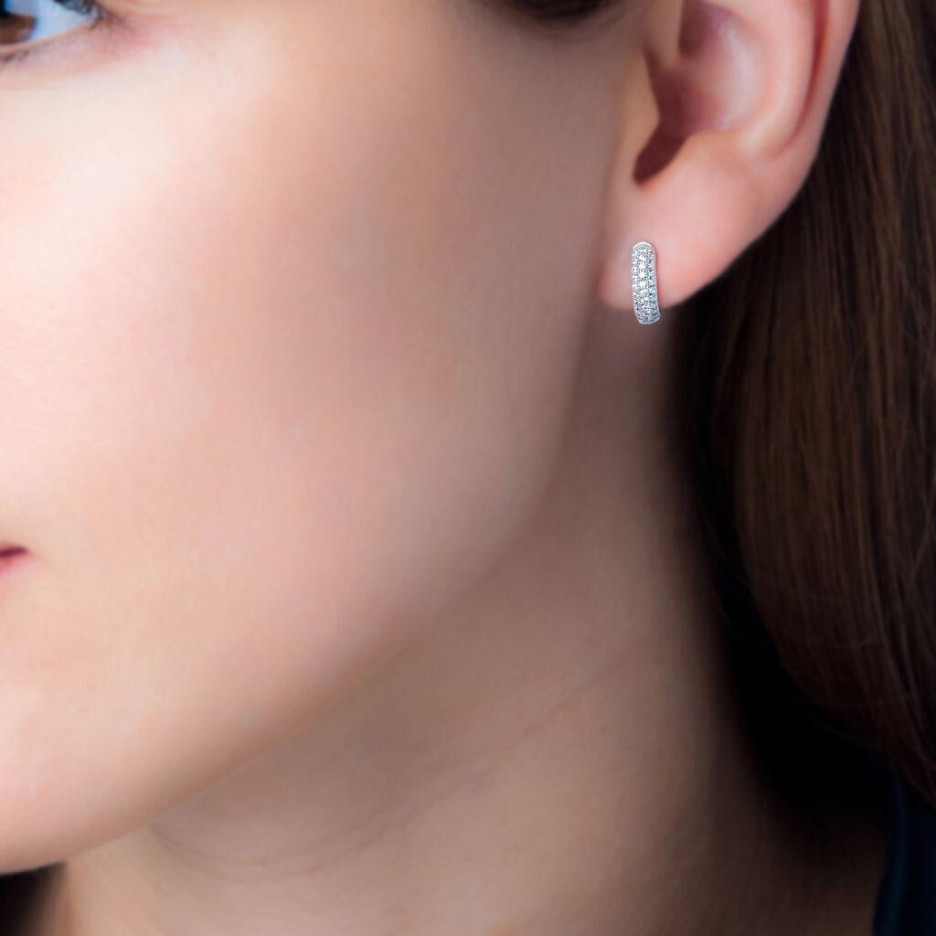 Créoles Kelya Rondes Argent Blanc Oxyde De Zirconium - Boucles d'oreilles créoles Femme   Histoire d'Or