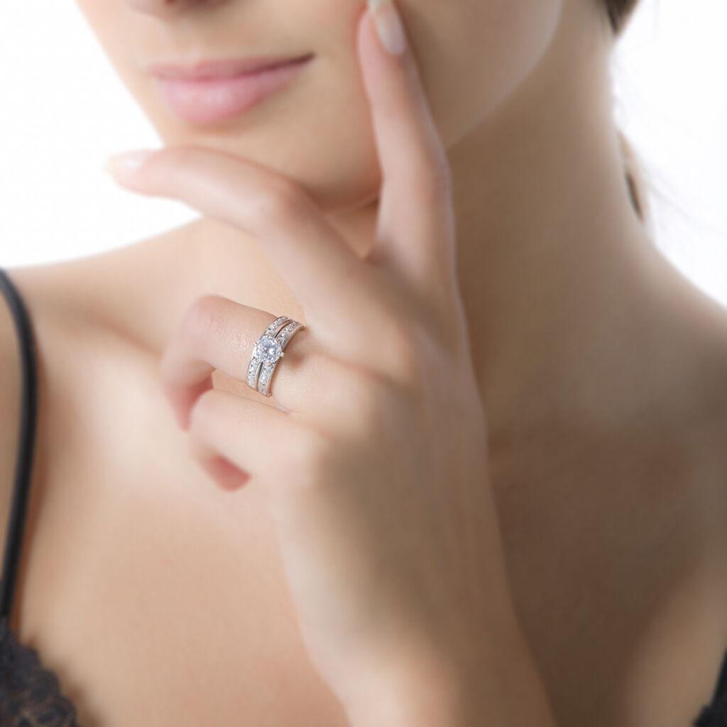 Bague Double Jeu Argent Blanc Oxyde De Zirconium - Bagues solitaires Femme   Histoire d'Or