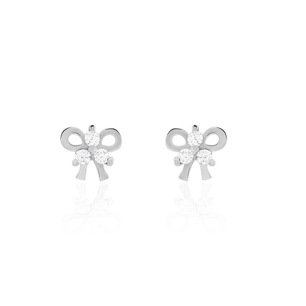 Boucles D'oreilles Puces Darina Noeud Or Blanc Oxyde De Zirconium - Clous d'oreilles Femme   Histoire d'Or