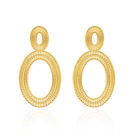 Boucles D'oreilles Acier Dore Agostino Pendantes Ovales - Boucles d'oreilles fantaisie Femme | Histoire d'Or