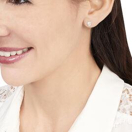 Boucles D'oreilles Puces Elda Serti Clos Or Blanc Oxyde De Zirconium - Clous d'oreilles Femme   Histoire d'Or