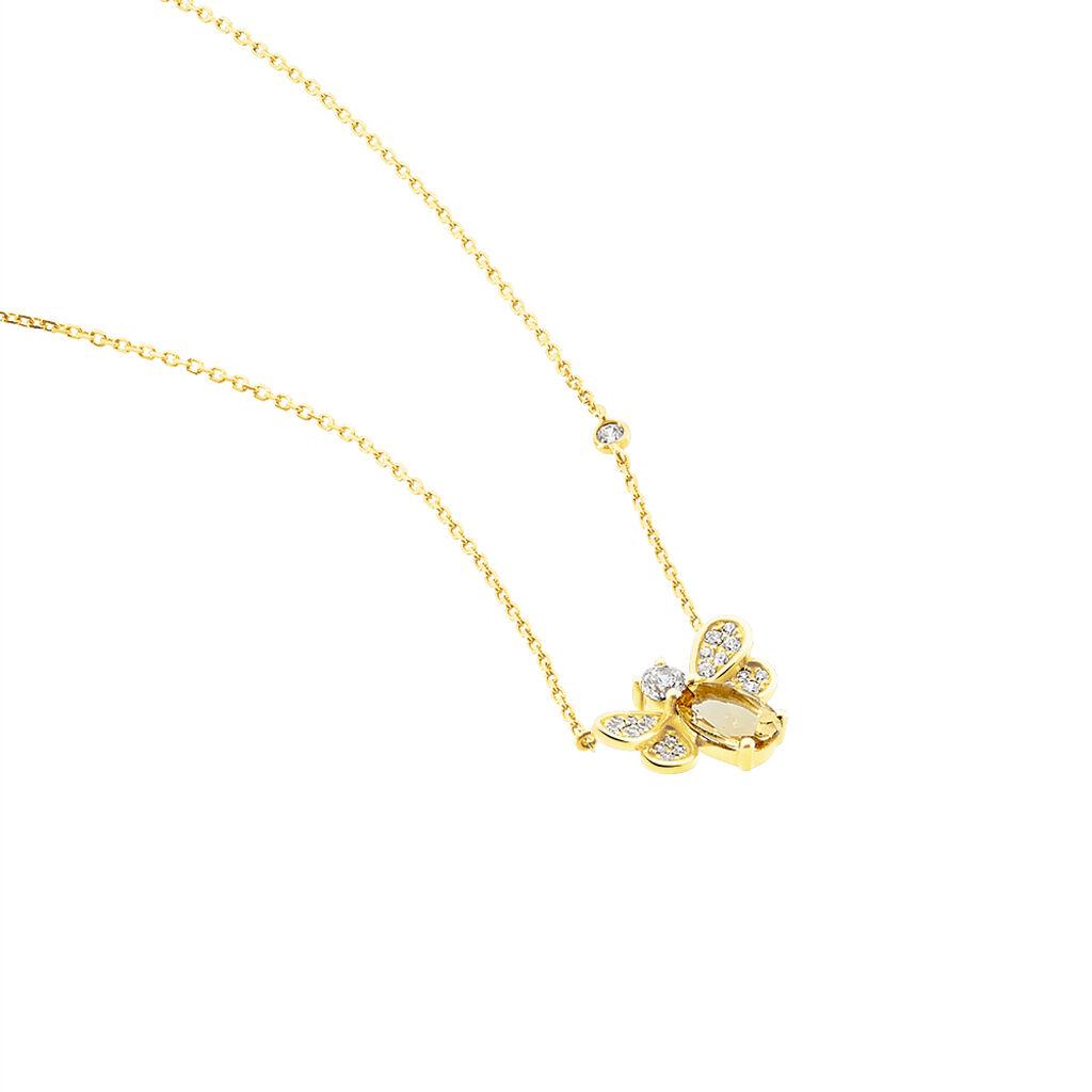 Collier Leilia Or Jaune Citrine Et Oxyde De Zirconium - Bijoux Femme | Histoire d'Or